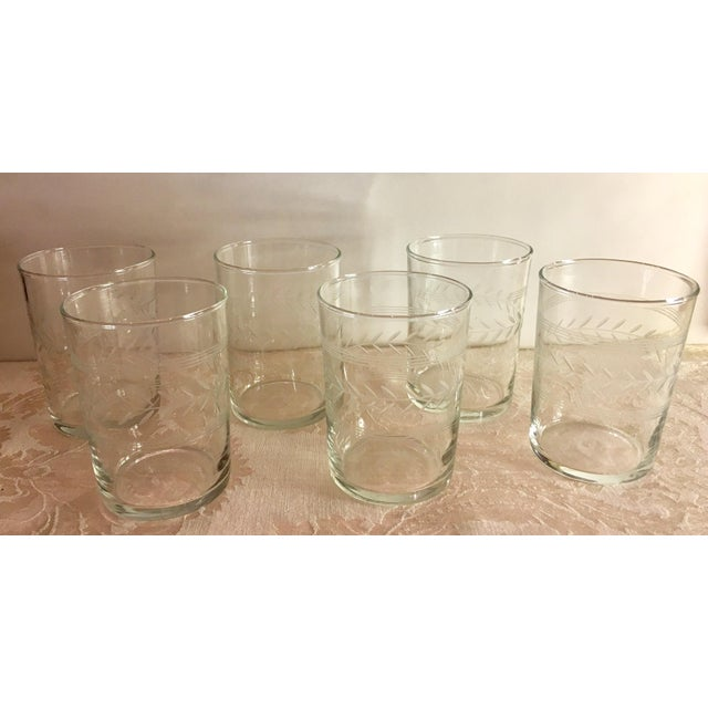 Cottage Mid-Century Etched Glass Juice Glasses - Set of 6 For Sale - Image 3 of 9