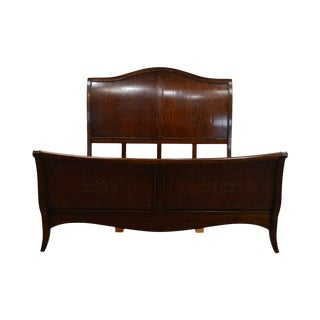 French Louis XV Style High Back Cherry King Size Sleigh Bed For Sale