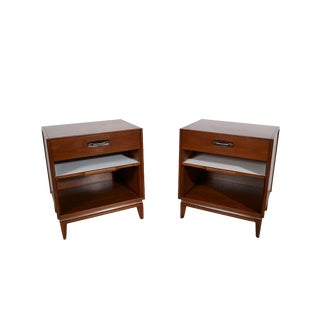 Mid-Century Modern Walnut Nightstands - a Pair For Sale