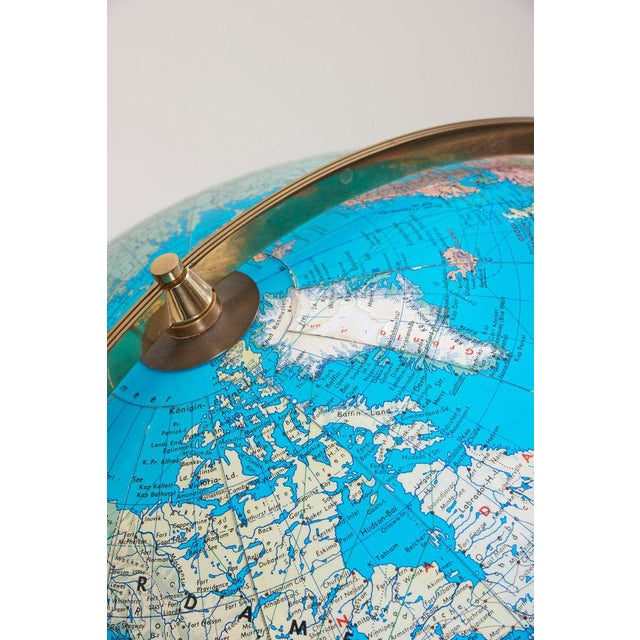 Huge Vintage Illuminated Globe With Brass Stand For Sale - Image 12 of 13