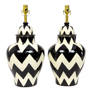 20th Century Mexican Black and White Zigzag Jar Lamps - a Pair For Sale