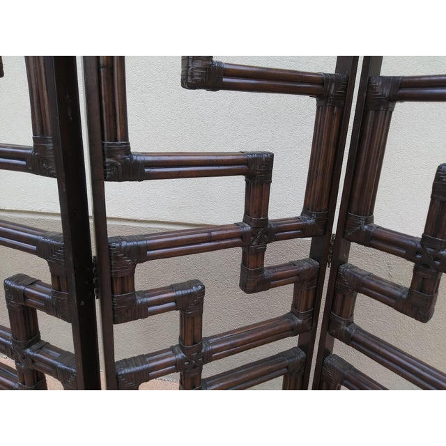 Wood Bundled Reed Rattan Chinese Chippendale Room Divider For Sale - Image 7 of 10