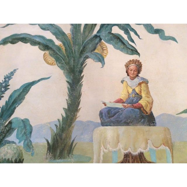 Traditional 1950s Vintage Huge Hand-Painted Fresco Painting For Sale - Image 3 of 7