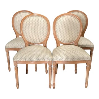 Louis XVI Style Natural Wood and Upholstered Dining Chairs - Set of 4 For Sale