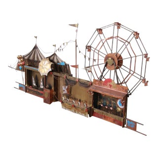 Curtis Jere Mid-Century Brutalist Carnival Wall-Mounted Mixed Metal Sculpture, 1970s For Sale