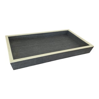Pigeon & Poodle Maranello Steel Blue/White Abaca Medium Tray For Sale