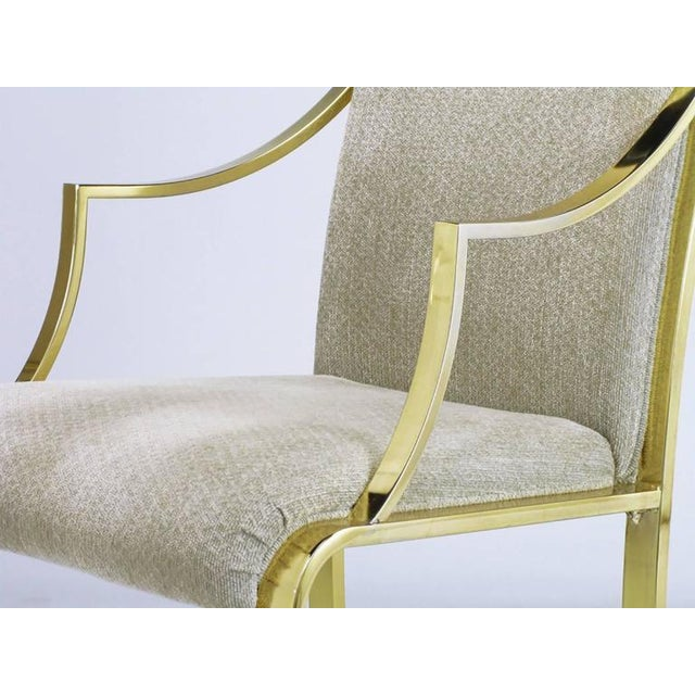 Set of Six Art Deco Revival Brass Dining Chairs by Design Institute of America - Image 7 of 9