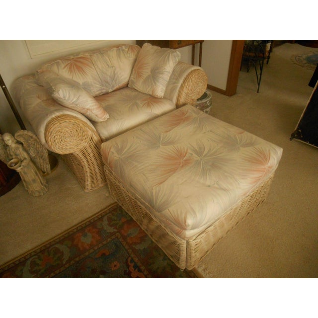 Custom Palm Beach Regency Bamboo Lounge & Ottoman - Image 6 of 8