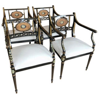 19th Century Regency Black, Gold and Green Armchairs - Set of 4