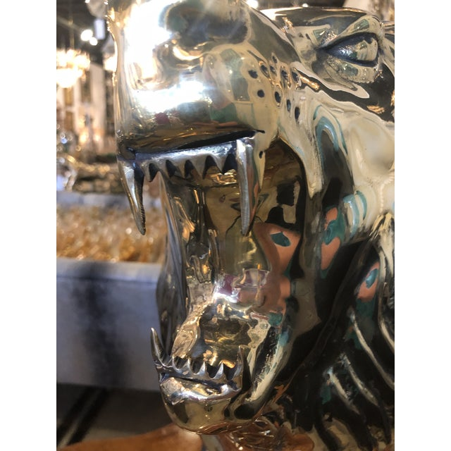Vintage Polished Brass Monumental Roaring Lion Animal Statue For Sale In West Palm - Image 6 of 13