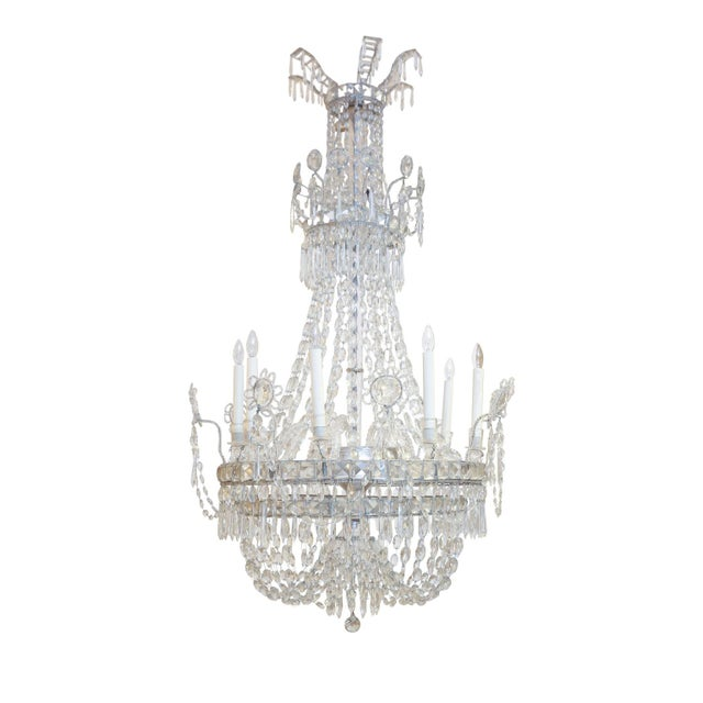 Gray Large Eight-Light Crystal Chandelier For Sale - Image 8 of 8