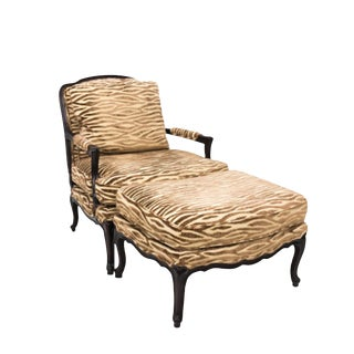 1980s Vintage Baker Louis XV Style Chair & Ottoman For Sale