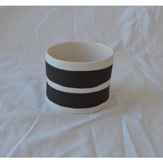 Contemporary Ceramic Striped Cylindrical Vessels - Set of 5 For Sale - Image 9 of 13