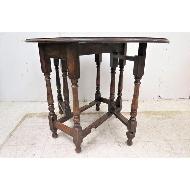 English Drop Leaf Gate Leg Tiger Oak Apartment Table For Sale - Image 4 of 10