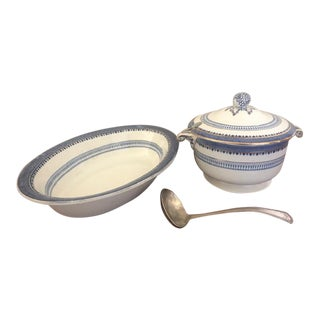 1910 Tiffany & Co. English Staffordshire Serving Bowl & Lidded Gravy or Soup Bowl - 3 Piece Set For Sale