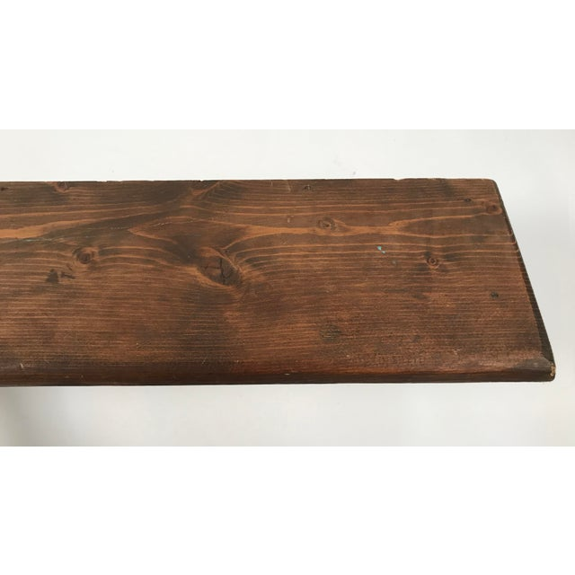 Wood Rustic Mounted Shelf W/ Hanging Pegs For Sale - Image 7 of 9
