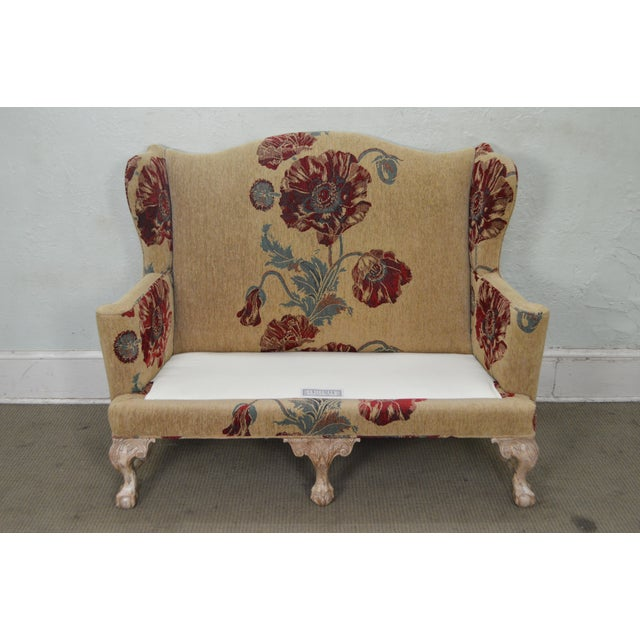 Drexel Heritage Gentlemans Home Floral Upholstered Chippendale Settee Loveseat For Sale - Image 10 of 13