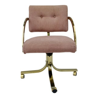 1980s Vintage Hollywood Regency Pink and Gold Rolling Chair For Sale