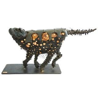Brutalist Black Cat Sculpture For Sale