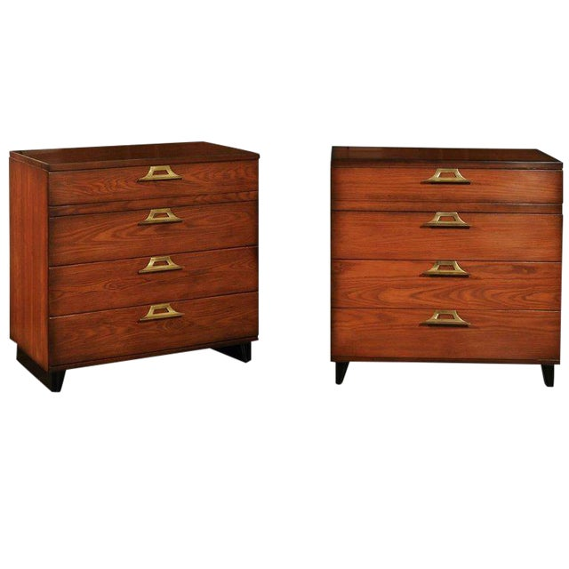 Rare Restored Pair of Commodes by John Wisner for Ficks Reed, Circa 1954 For Sale