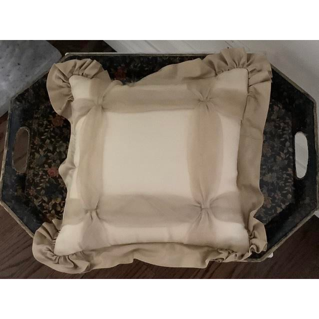 Custom designed and constructed silk and taffeta pillow with interesting windowpane design of taffeta strips. Beautiful...
