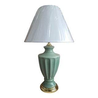 Vintage Celadon Crackle Table Lamp with Lampshade For Sale