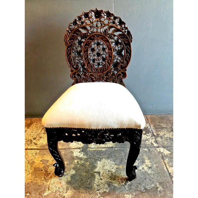 Rosewood Anglo-Indian Carved Rosewood Side Chair Raj Period For Sale - Image 7 of 7