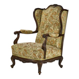 19th Century Carved Walnut Wingback Chair For Sale
