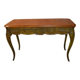 Carved Inlaid Crackle Finish French Style Writing Table