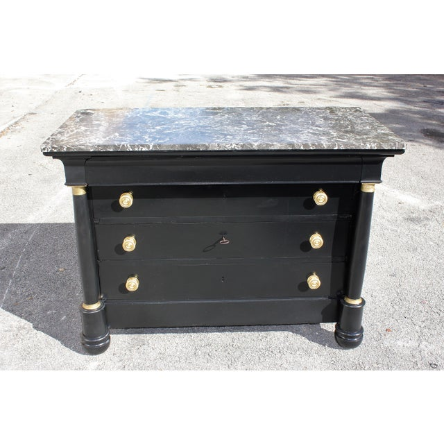 Brass 1900s French Empire Ebonized Marble Top Chest of Drawers For Sale - Image 7 of 13