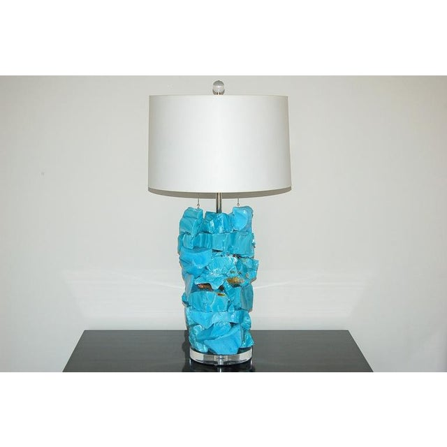 Contemporary Glass Rock Table Lamps by Swank Lighting Blue For Sale - Image 3 of 10