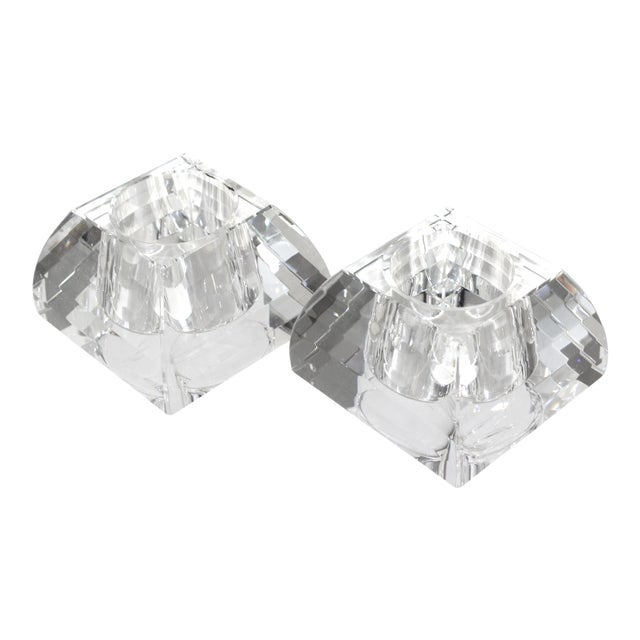 Vintage Oleg Cassini Faceted Crystal Pyramid Votive Candle Holders - a Pair -With Original Gift Boxes For Sale