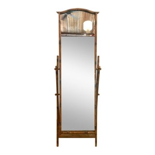 Mid-Century Modern Full Length Faux Bamboo Cheval Mirror For Sale