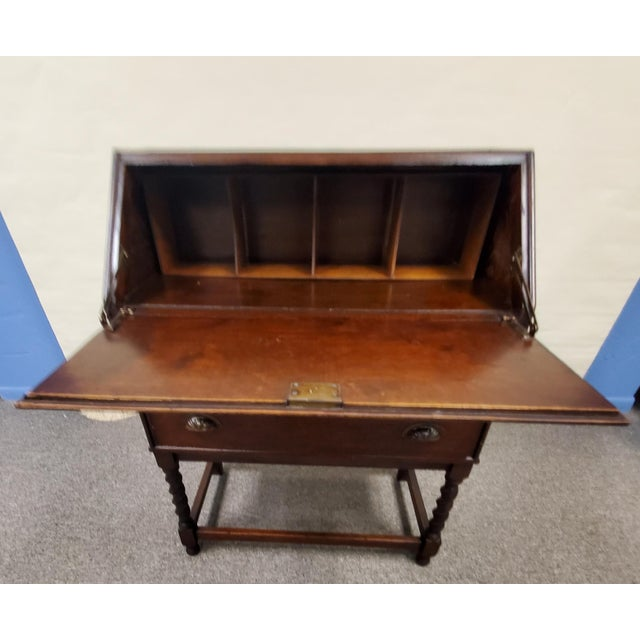 Wood Antique England Oak Barley Twist Drop Front Secretary Desk For Sale - Image 7 of 11