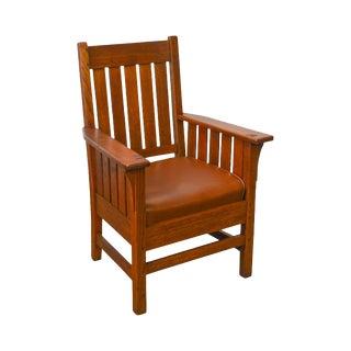 Stickley Antique Mission Oak Slatted Arm Chair