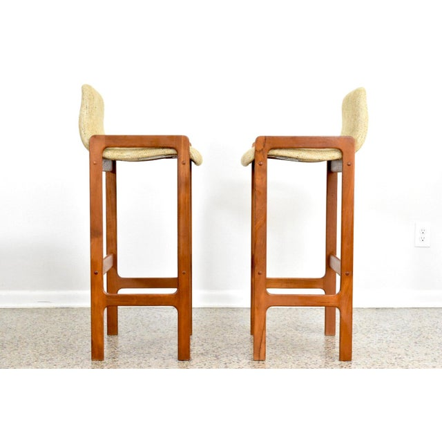 Dixie Furniture Danish Modern Style Teak Bar Stools- A Pair - Image 3 of 5