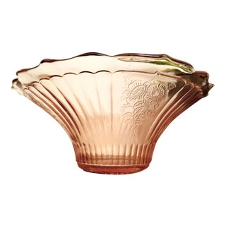 """Mayfair"" Pink Depression Glass Open Rose Hat Bowl"