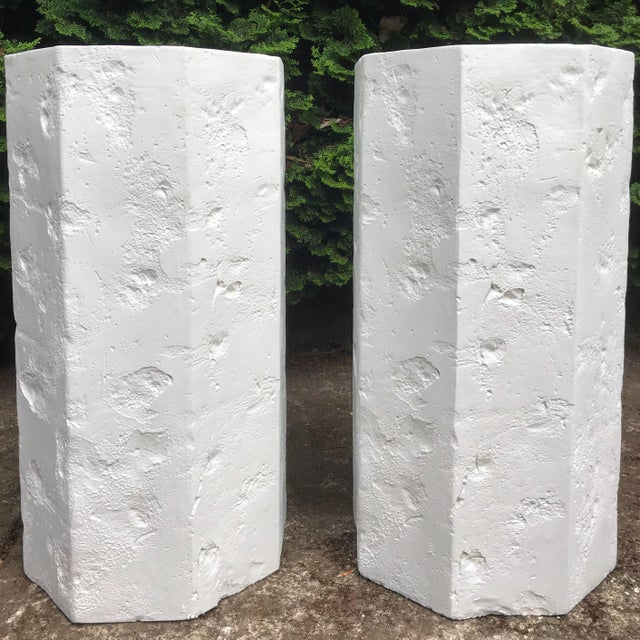Amazing octagonal faux quarry rock Sirmos style plaster pedestals. Excellent for use as side tables or for display. Bright...