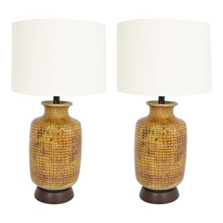 Large Mid-Century Ceramic Earthernware Table Lamps - a Pair For Sale