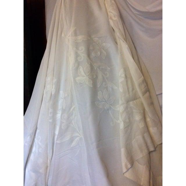 Textile Antique Appliquéd Linen Tablecloth & Napkins - Set of 13 For Sale - Image 7 of 13