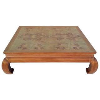 Henredon 1980s Ming Style Burl Wood Top Coffee Table