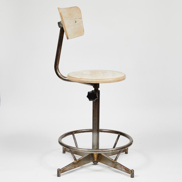 Industrial Antique Industrial Light Wood and Metal Adjustable Swivel High Chair For Sale - Image 3 of 7