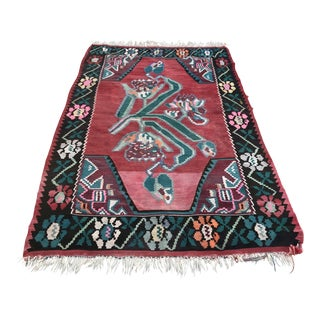 1940s Vintage Karabag Turkish Kilim Rug - 4′8″ × 8′2″ For Sale