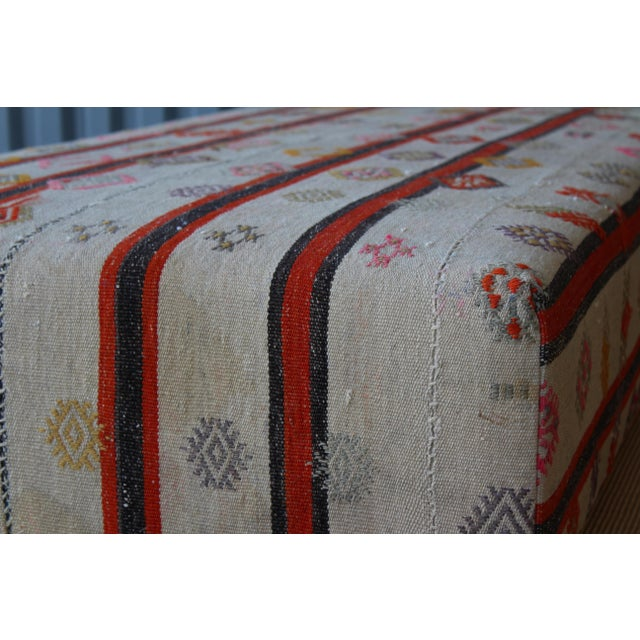 2010s Ottoman Upholstered in a Vintage Rug For Sale - Image 5 of 10