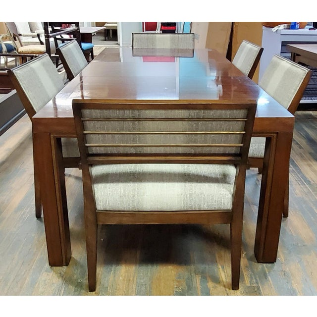 Henredon Furniture Venue Walnut Mid-Century Modern Dining Table & Chair Set For Sale - Image 12 of 12