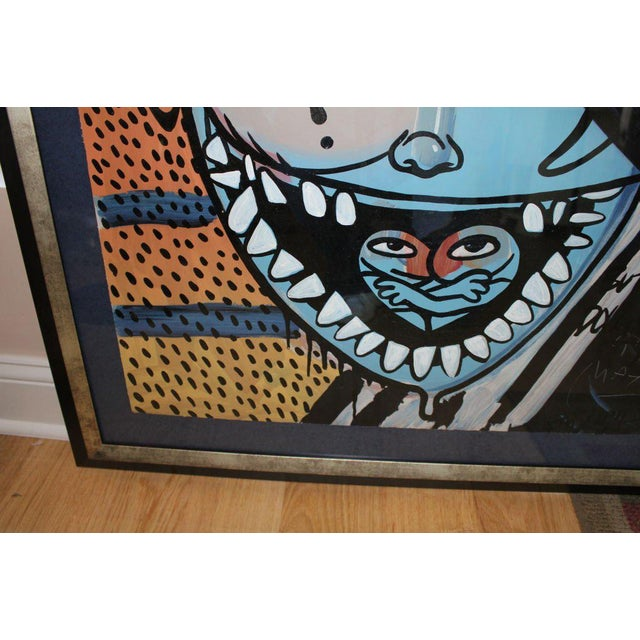 Gray Ron English Abstract Acrylic Over a Peter Max Silkscreen For Sale - Image 8 of 10