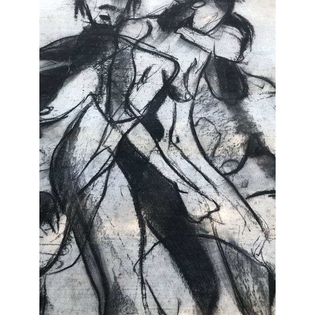 Chalk 1950s Vintage Chalk Man & Woman Nudes Large Abstract Drawing For Sale - Image 7 of 9