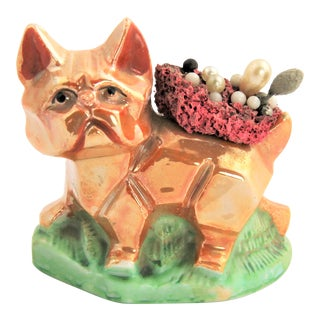 Vintage Japanese Lusterware Cat or Dog Pin Cushion For Sale
