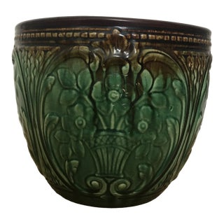 Weller Green Glazed Majolica Jardiniere For Sale