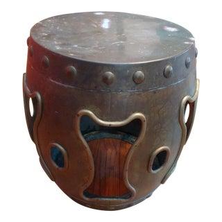 1960s Vintage Hollywood Regency Style Asian Brass Garden Stool For Sale